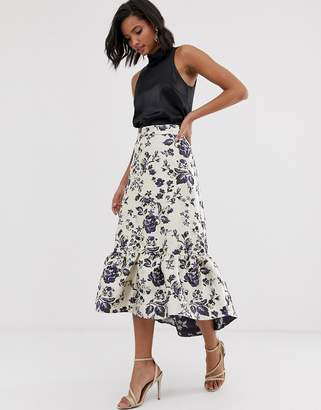 Closet London Closet frill hi low midi skirt