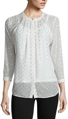 LIZ CLAIBORNE Liz Claiborne Foil-Dot Button-Front Blouse $9.99 thestylecure.com
