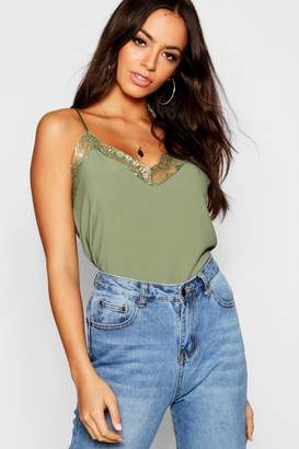 boohoo Lace Trim Strappy Cami Top