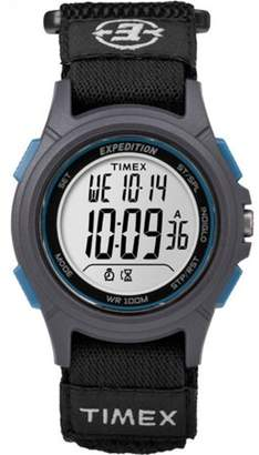 Timex Men's Expedition Digital CAT Black/Gray/Blue Watch, Fast-Wrap Strap