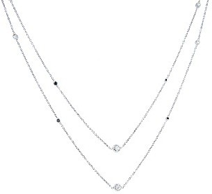 A.Link Long Fine Chain with Black and White Bezel Set Diamonds - White Gold