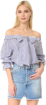 J.O.A. Stripe Off Shoulder Blouse $68 thestylecure.com