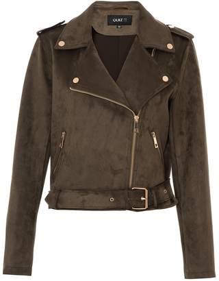 Dorothy Perkins Womens *Quiz Khaki Faux Suede Biker Jacket
