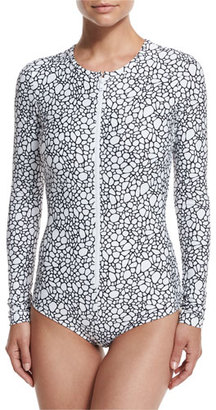 Cover Long-Sleeve Zip-Front One-Piece Swimsuit, Pavimento $285 thestylecure.com