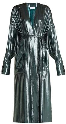 Wanda Nylon - V Neck Belted Side Slit Silk Blend Dress - Womens - Light Blue