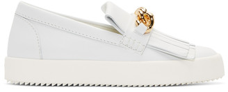 Giuseppe Zanotti White Leather May London Fringed Sneakers $640 thestylecure.com