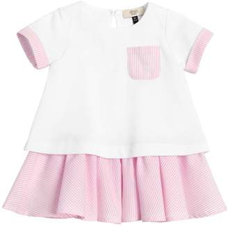 Armani Junior Two Tone Cotton Piqué & Oxford Dress