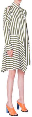 Akris Punto Striped Cold-Shoulder Asymmetric Shirtdress