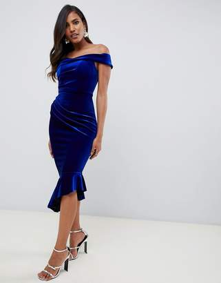70148b040cd Asos Design DESIGN structured velvet midi bodycon dress