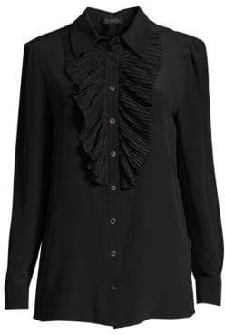 Escada Neel Silk Pleat-Front Blouse