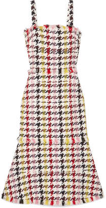 Oscar de la Renta Fringed Houndstooth Wool-blend Tweed Dress - Red