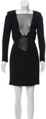 Saint Laurent Lace-Trimmed Mini Dress