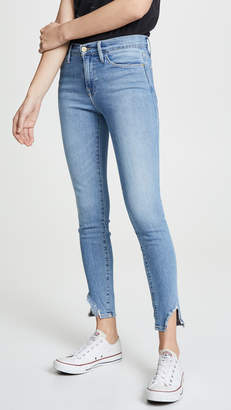 Frame Le High Skinny Side Fray Jeans