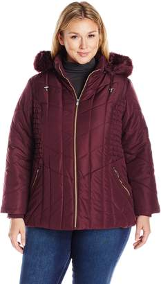 Details Women's Plus Size Puffer Coat with Braided Rouched Side