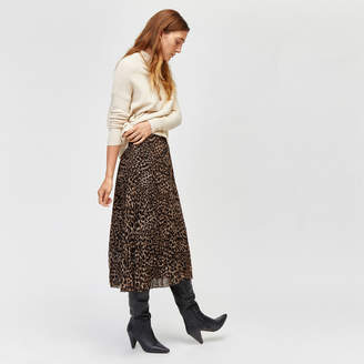 Warehouse Leopard Pleated Midi Skirt