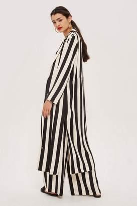 Topshop Tie Detail Striped Duster Coat