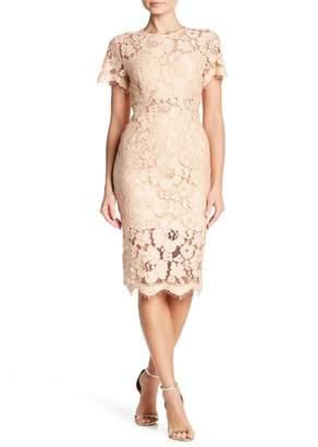 NSR Short Sleeve Lace Midi Dress