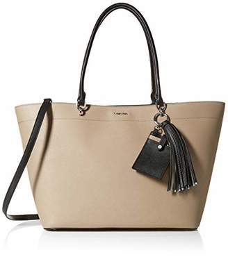 Calvin Klein womens Susan Saffiano Leather Large East/West Tab Over Tote