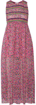 Anna Sui - Smocked Printed Silk-georgette Midi Dress - Pink