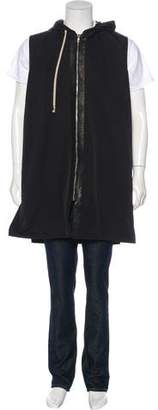 Rick Owens Leather-Trimmed Sleeveless Coat