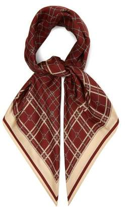 Gucci Gg Rope Print Silk Scarf - Womens - Red