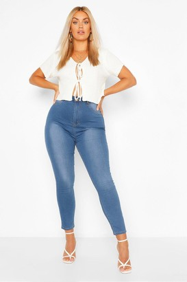boohoo Plus Button Contrast Stretch Jegging