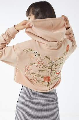 Urban Outfitters Embroidered Cropped Hoodie Sweatshirt