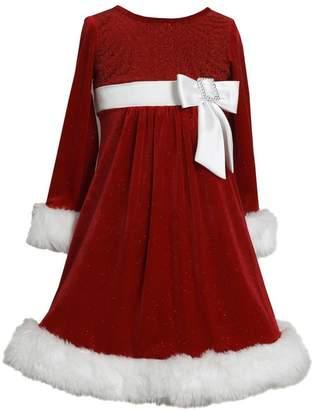 Bonnie Jean Christmas Holiday Velvet Santa Dress Side Bow