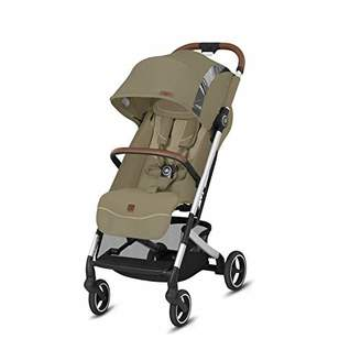 GB Gold Qbit+ All-City Compact Pushchair, Lie-Flat Reclining Seat, from Birth to 17 kg (Approx. 4 Years), Silver Anodised Frame, Fashion Collection Edition, Vanilla Beige