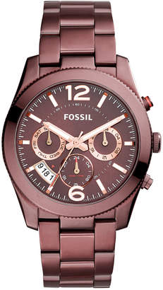 Fossil Women's Perfect Boyfriend Red-Tone Stainless Steel Bracelet Watch 39mm ES4110
