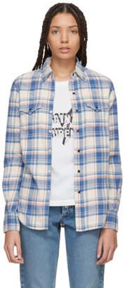 Saint Laurent Pink and Blue Western Pocket Flannel Shirt