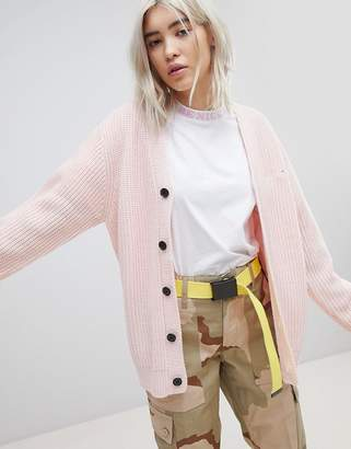 N. Rip Dip RIPNDIP Oversized Button Through Cardigan With Slogan Embroidered
