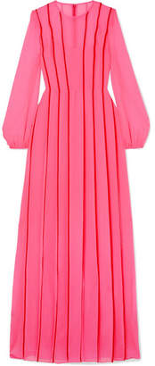 ADAM by Adam Lippes Satin-trimmed Pleated Silk-chiffon Gown - Pink