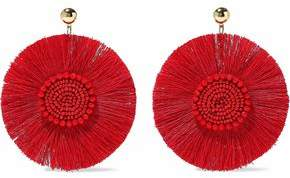 Kenneth Jay Lane Gold-Tone Fringe And Bead Earrings