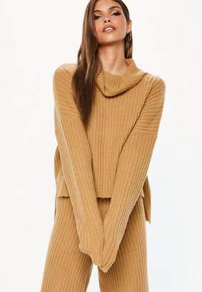 Missguided Camel Co Ord Ribbed Knit Turtle Neck Sweater