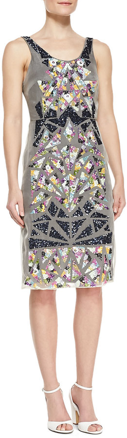 Nicole Miller Sleeveless Shattered Glass Pattern Cocktail Dress, Multicolor