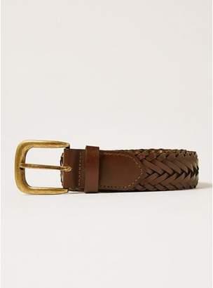 Topman Mens Brown Tan Leather Plait Belt