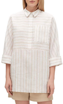 Lafayette 148 New York Plus Size Malaysia Savena Stripe Linen Blouse