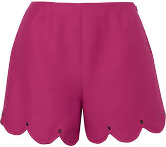 Valentino Studded Scalloped Wool And Silk-blend Crepe Shorts - Bright pink
