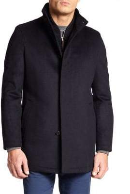Saks Fifth Avenue Men's COLLECTION War Wool Coat - Black - Size Large