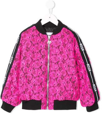 MSGM Kids floral lace bomber jacket