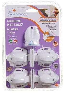 Dream Baby NEW Dreambaby Adhesive Mag Lock With 1 Key (Set of 4)