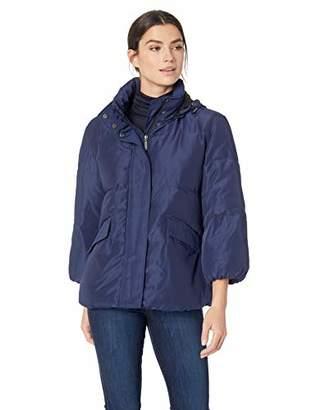 Lark & Ro Women's 3/4 Sleeve Short Puffer Coat With Front Zipper