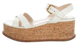 Prada Saffiano Wedge Sandals