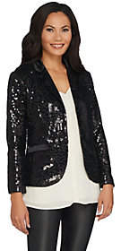 Lisa Rinna Collection Button Front SequinBlazer
