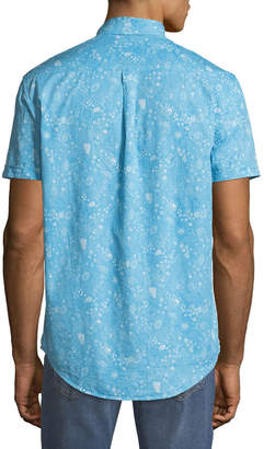 Report Collection Men's Ocean Paisley Short-Sleeve Oxford Shirt