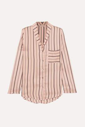 Hanro Malie Striped Satin-piqué Pajama Top - Blush