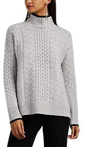 Barneys New York Women's Mixed-Stitch Cashmere Mock-Turtleneck Sweater - Gray