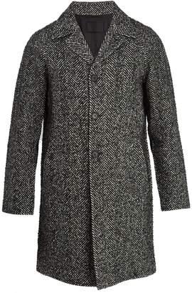 Prada Peak-lapel herringbone wool overcoat