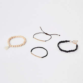 River Island Mens Black beaded bracelet pack